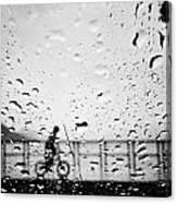 Children In Rain Canvas Print