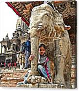 Children Love The Elephants In Patan Durbar Square In Lalitpur-nepal Canvas Print