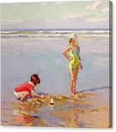 Children On The Beach Canvas Print