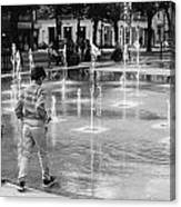 Children Play By Fountain Canvas Print