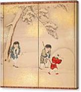 Children Playing In Summer And Winter Canvas Print