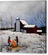 Children Warming Up By The Fire Canvas Print