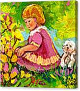 Children's Art - Little Girl With Puppy - Paintings For Children Canvas Print