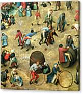 Childrens Games Kinderspiele Detail Of Bottom Section Showing Various Games, 1560 Oil On Panel Canvas Print