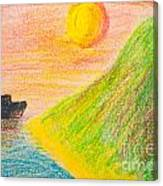Child's Hand Drawing Of Sea And Mountain Landscape With Crayons Canvas Print