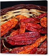 Chilis In A Basket Canvas Print