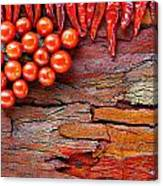 Chilli And Tomato On Rustic Background Canvas Print