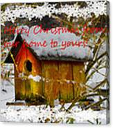 Chilly Birdhouse Holiday Card Canvas Print