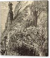 Chimney Rock At Hickory-nut Gap 1872 Engraving Canvas Print