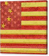 Chinese American Flag Blend Canvas Print