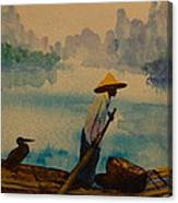 Chinese Fisherman With Commarant Canvas Print