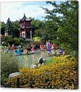 Chinese Garden With Gazebo Canvas Print