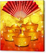 Chinese Gold Bars And Fan With Text Happy New Year Canvas Print