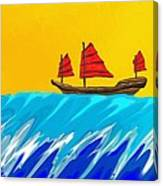Chinese Junk And Wave Canvas Print