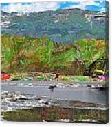 Chinese Landscape Abstract Graphic River Snow Peak Mountain Picnic Spot Skiing Raft Boat Canvas Print