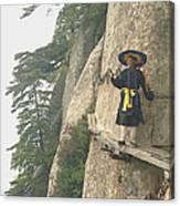 Chinese Monk Walking Along On Mountain Pathway Canvas Print