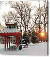 Chinese Pavilion Winter Sunrise Canvas Print