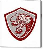 Chinese Red Dragon Head Shield Canvas Print