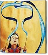 Chinese Ribbon Dancer  Blue Ribbon Canvas Print