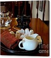 Chinese Tea Pot Cups Towel Tray And Plates Canvas Print