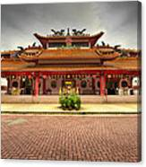 Chinese Temple Paved Square Canvas Print
