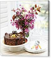 Chocolate Cake With Flowers Canvas Print