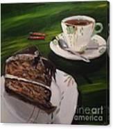 Chocolate Hazelnut Cake And Art Deco Fine China Canvas Print