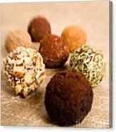 Chocolate Truffles On Gold Canvas Print