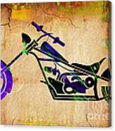 Chopper Motorcycle Painting Canvas Print