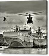 Choppers N Ships  Canvas Print