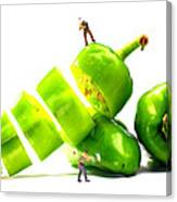Chopping Green Peppers Little People Big Worlds Canvas Print