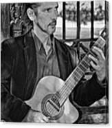 Chris Craig - New Orleans Musician Bw Canvas Print