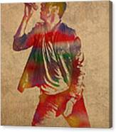 Chris Martin Coldplay Watercolor Portrait On Worn Distressed Canvas Canvas Print