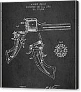 Christ Revolver Patent Drawing From 1866 - Dark Canvas Print