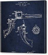 Christ Revolver Patent Drawing From 1866 - Navy Blue Canvas Print