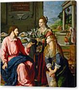 Christ With Mary And Martha Canvas Print