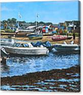 Christchurch Hengistbury Head Beach With Boats Canvas Print