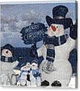 Christmas - Snowmen Collection - Family - Peace - Snow Canvas Print