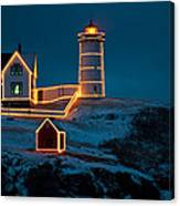 Christmas At Nubble Light Canvas Print