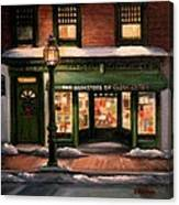 Christmas At The Bookstore Of Gloucester Canvas Print
