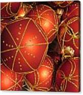 Christmas Balls In Red And Gold Canvas Print