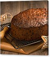 Christmas Cake With Knife Canvas Print