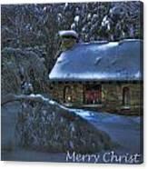 Christmas Card Moonlight On Stone House Canvas Print