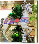 Christmas Carousel Horse With Pine Branch Canvas Print