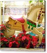 Christmas Carousel Horse With Poinsettias Canvas Print
