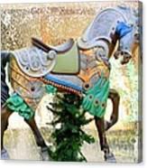 Christmas Carousel Warrior Horse-1 Canvas Print