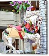 Christmas Carousel White Horse Canvas Print