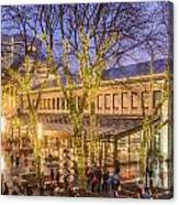 Christmas Crowd At Quincy Market Canvas Print