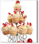 Christmas Cupcakes On Stand Canvas Print