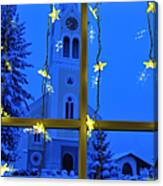 Christmas Decoration - Yellow Stars And Blue Church Canvas Print
